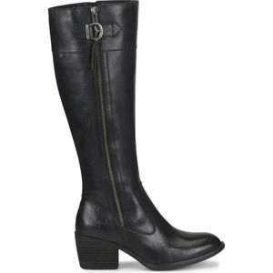 NEW BORN Uchee Block Heel Leather Knee High Boots
